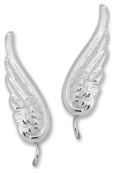 Angel Wing Earrings In Sterling Silver.