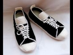 "Тапочки крючком.""Полукеды"", крючок для начинающих, knitted slippers - YouTube"