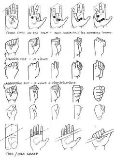 Art Tutorial - hand grip reference for illustration, drawing and digital concept Drawing Skills, Drawing Lessons, Drawing Techniques, Drawing Tips, Figure Drawing, Drawing Hands, Art Lessons, Hand Reference, Anatomy Reference