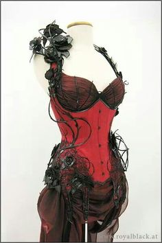 Red goth corset