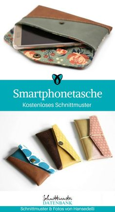 45 last minute gift ideas!- 45 Last Minute Geschenkideen! Smartphone Cover Mobile Phone Bag Hansedelli sew free sewing pattern for free Sewing Tutorial Freebie Nähidee gift idea - Sewing Hacks, Sewing Tutorials, Sewing Tips, Poncho Crochet, Love Sewing, Sewing Projects For Beginners, Diy Projects, Last Minute Gifts, Sewing Patterns Free