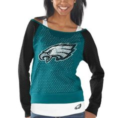 Philadelphia Eagles Womens Holy Long Sleeve T-Shirt and Tank Top – Midnight Green/Black