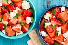 Here's a must-read article from Delish: Watermelon Strawberry Caprese Salad Watermelon Salad Recipes, Caprese Salad Recipe, Fruit Salads, Cut Watermelon, Fruit Kabobs, Fruit Dishes, Jello Salads, Vegetarian Recipes, Cooking Recipes