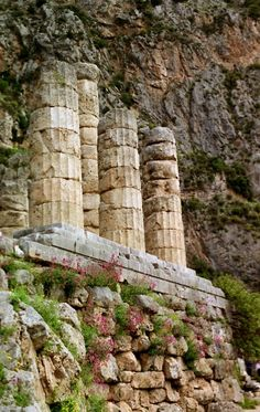 Sanctuary of Delphi and Columns of the Temple of Apolo, Greece