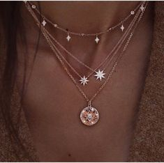 Delicate Layered Necklace with Stars, Multilayer Celestial Gold Necklace with Crystals Zarte geschichtete Halskette mit Sternen, Multilayer Celestial Gold Neckla – ElvenMeadow Cute Jewelry, Jewelry Accessories, Fashion Accessories, Women Jewelry, Jewelry Design, Jewelry Shop, Pretty Necklaces, Star Jewelry, Gold Jewelry