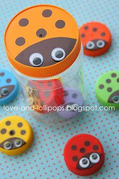 Knutselen met kinderen - Recycling - Oude doppen en potten - Lieveheersbeestje - De Kunst van hergebruik - Love and Lollipops: Colour Fun #6 - Bottle Top Ladybugs