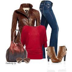 Red top, brown leather moto jacket, awesome bag, and brown leather heeled booties