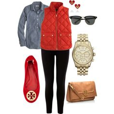 A fashion look from October 2013 featuring button shirt, red vest and elastic waist pants. Browse and shop related looks. Puffy Vest Outfit, Red Vest, Vest Outfits, Cute Outfits, Fall Winter Outfits, Autumn Winter Fashion, Preppy Style, My Style, Kinds Of Clothes