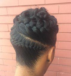 Black Brown Braid Updo