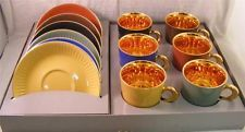 FIGGJO FLINT NORWAY 12PC Demitasse Cup & Saucer GOLD Gilded Porcelain Orig Box