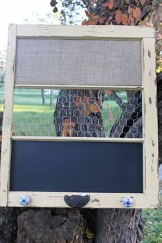 RECLAIMED old Window - Yellow Shabby Chic Farm Window - Chalkboard - Burlap covered Cork Board - Chicken Wire Memo Board - Message - Wedding