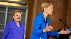 Hillary Clinton y senadora Elizabeth Warren juntas en campaña