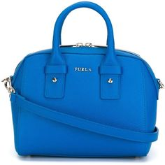 Furla Mini Allegra Tote (1,265 ILS) ❤ liked on Polyvore featuring bags, handbags, tote bags, blue, leather purses, blue leather tote bag, genuine leather tote, leather tote purse and handbag tote