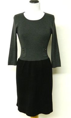 Anne Klein Black Gray Sweater Dress Grey Sweater Dress, Wool Dress, Anne Klein, Black And Grey, Fashion Accessories, Dresses For Work, Fashion Looks, Pockets, Pullover