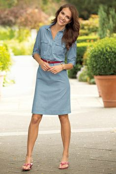 Classic Cotton Shirtdress from Chadwicks Of Boston on shop.CatalogSpree.com, your personal digital mall.