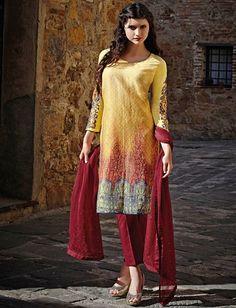 Yellow & Maroon Cotton Design Salwar Kameez & Shawl $48.00 For Order whtsap at 9582233490 #yellow #maroon #cotton #design #salwarkameez #indianstyle #womenswear #online #shopping #fashionumang