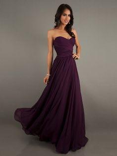 Eggplant Colored Chiffon Sweetheart Floor-Length Dress