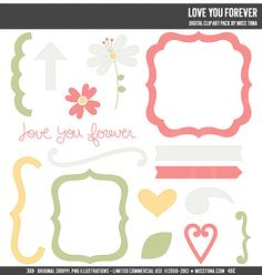 Love You Forever Digital Clipart Clip Art by MissTiina on Etsy, $5.00