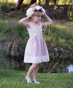 Pink Floral Stripe A-Line Dress - Toddler & Girls