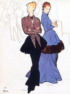 Jean Dessès & Robert Piguet Evening Gowns, 1947 illustrated by René Gruau