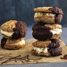Chocolate Covered Oatmeal Cookie Ice Cream Sandwiches on the feedfeed