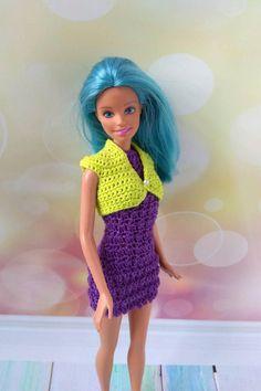 Barbie doll clothes handmade hand crochet purple dress