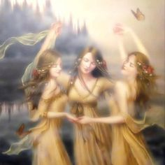 The three Fates -  Clotho, the spinner, who spins the thread of life. Lachesis, the measurer, who choses the lot in life one will have and measures off how long it is to be. Atropos, she who cannot be turned, who at death with her shears cuts the thread of life.