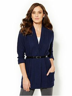 Open-Front Belted Cardigan from New York & Company