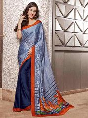 Blue Color Crepe Casual Party Sarees : Siyali Collection YF-36706