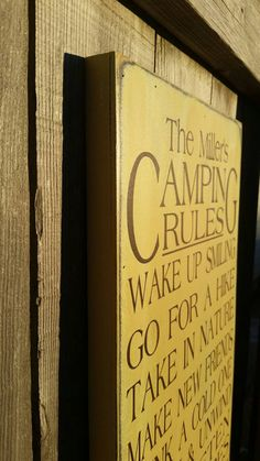 Hey, I found this really awesome Etsy listing at https://www.etsy.com/listing/266008167/camping-rules-sign-rustic-camper-sign