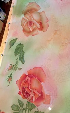 Hand Painted Silk Scarf, Vintage Coral Roses, Shabbi-Сhic Style, Batik, Luxurious gift for her Saree Painting, Fabric Painting, Watercolor Paintings, Hand Painted Dress, Hand Painted Fabric, Coral Roses, Designs For Dresses, Silk Art, Watercolor Effects