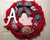 Alabama Collegiate Burlap Wreath, Roll Tide Wreath,Collegiate Wreath,Bama Burlap Wreath,College Football Wreath,Alabama Roll Tide Wreath - pinned by pin4etsy.com