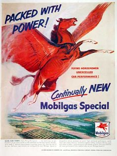 Original 1942 Print Ad Mobilgas Mobiloil Red Horse Wartime Car Service Pays Wide Selection; Advertising-print Collectibles