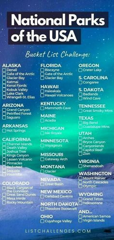 All 59 US National Parks : us travel outdoor vacation ideas. north america The United States has 59 protected areas known as national parks, which are operated by the National Park Service, an agency of the Vacation Ideas, Vacation Trips, Vacation Travel, Italy Vacation, Beach Travel, Golf Travel, Girls Vacation, Shopping Travel, Hawaii Vacation
