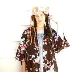 Kimono Jacket// Crane & Cherry Blossom Design//  by AstralBoutique, $28.00