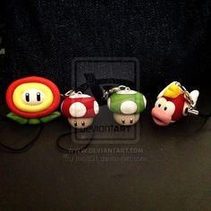 Kawaii Super Mario Polymer Clay Charms by ~mia831
