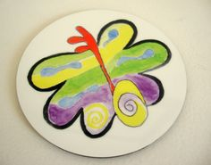Original One of a Kind Art Butterfly Coaster by ChanelledCreations, $8.00