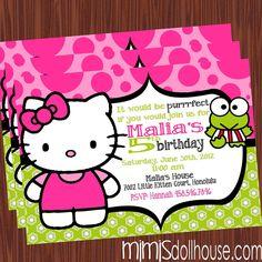 Hello Kitty Invitation-Hello Kitty Birthday Invitation PDF/JPEG. $11.99, via Etsy.