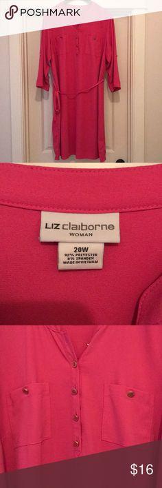 Liz Claiborne Women's Plus Size Dress 💕 Cute! Cute! Cute!  Liz Claiborne Women's Plus Size dress!  It's PINK!  Size 20W 💕 Liz Claiborne Dresses Midi