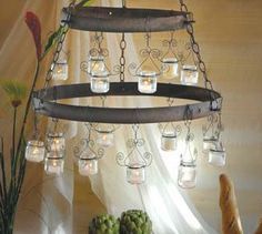 Chandelier made out of reused baby food jars.
