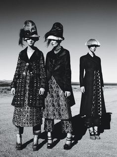 """vogueweekend:  """"Fierce Creatures"""", Magda Laguinge, Zuzanna Bijoch, and Meghan Collison photographed by Patrick Demarchelier in W August 2012"""