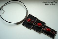 Black leather necklace with Red corals beads by RutaJewelry, $87.00