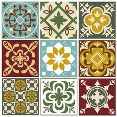 Old Mediterranean Tile Prints Graphic Patterns, Tile Patterns, Vector Pattern, Pattern Design, Patterned Kitchen Tiles, Motif Arabesque, Mediterranean Tile, Traditional Tile, Portuguese Tiles