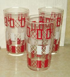 Set 3 Vintage Federal Glass Geometric Red White Pattern Drinking Glasses