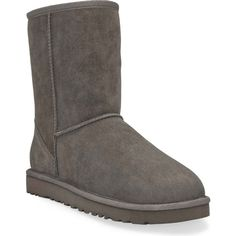UGG Australia Women's Classic Short Grey Boots ($155) ❤ liked on Polyvore featuring shoes, boots, ankle booties, grey, patent leather shoes, woven shoes, gray boots, low heel shoes and patent leather boots