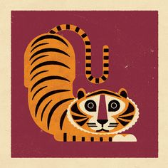 Stamps-Like Animals Drawings by Bobby Evans The illustrator Bobby Evans comes from London and is also the director of Telegramme Studio. Tiger Illustration, Fantasy Illustration, Digital Illustration, Character Illustration, Retro Poster, Vintage Posters, Art Tigre, Illustrator, Kid Decor