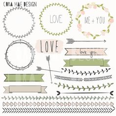 18 Laurel & borders clipart files. Instant PNG by CoraMaeDesigns, $2.00
