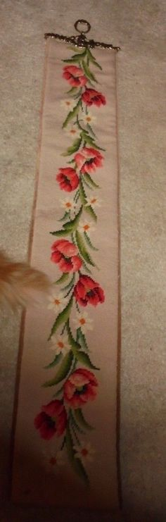Spring Flowers Needlepoint Vintage Estate Chic Garden Flower Bell Pull Piece | eBay