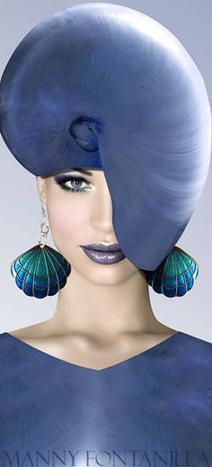 Manny Fontanilla photo of huge blue green seashell earrings with blue fashions