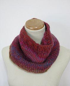 Aurora Hand Knit Cowl/Circular Scarf  Red Pink by ArlenesBoutique, $45.00